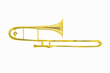Isolated watercolor trumpet on white background. Beautiful classic instrument.