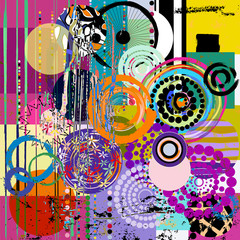 abstract geometric pattern background, with circles, paint strok