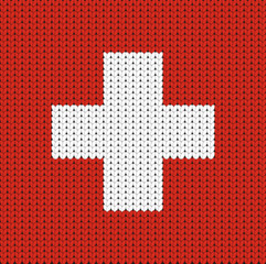 Knitted flag of Switzerland