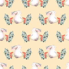 Seamless pattern with watercolor rabbits, green branches and red berries, hand drawn isolated on a tender pink background
