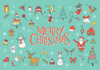 Merry Christmas greeting card, poster and banner