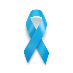 Realistic Blue Ribbon. World Prostate Cancer Day concept. Vector Illustration. Men healthcare concept. Awareness Ribbon