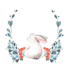 Illustration, wreath with watercolor rabbit, green branches and red berries, hand drawn isolated on a white background, invitation, greeting card