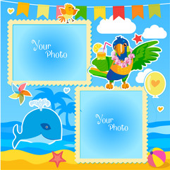 Vacation Summer Photo Frames With Sea, Whale and Parrot. Decorative Cartoon Template For Baby, Family Or Memories. Summer Photo Ideas.