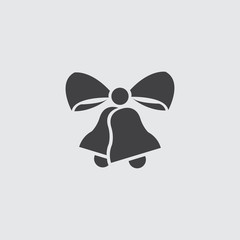 Christmas bells with ribbon icon in a flat design in black color. Vector illustration eps10