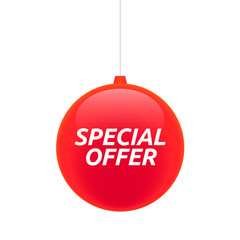 Isolated christmas ball with    the text SPECIAL OFFER
