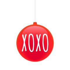 Isolated christmas ball with    the text XOXO