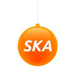 Isolated christmas ball with    the text SKA