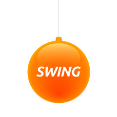 Isolated christmas ball with    the text SWING