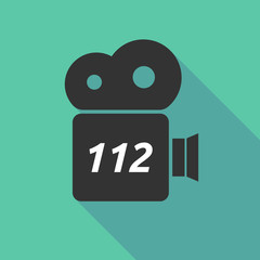 Long shadow camera icon with    the text 112