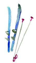 watercolor sketch of skis on white background
