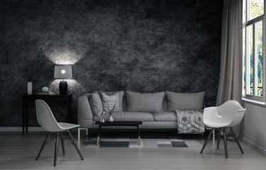 3D render of living room in gray colors