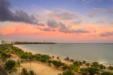Spectacular sunset over the  Pajucara beach in Maceio , Alagoas , Brazil  .