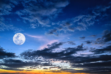 Night time full moon evening twilight sky