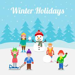 winter holidays. happy children with snowman