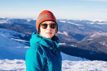 Portrait of a Girl tourists in bright clothes on a background of