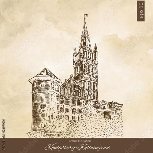 The Royal Castle Of Koenigsberg Kaliningrad Russia Hand Drawn