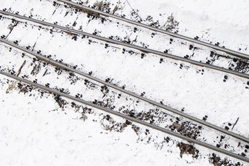 railway line in the snow