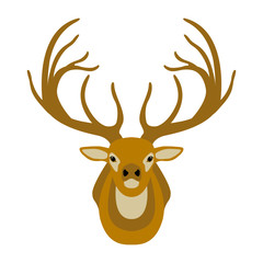 deer head vector illustration style flat