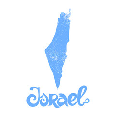 Israel. Vector blue background with lettering and grunge map.