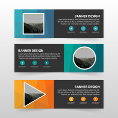 Colorful abstract corporate business banner template, horizontal advertising business banner layout template flat design set , clean abstract cover header background for website design