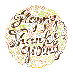 Happy Thanksgiving card. Freehand lettering and colorful line art elements.