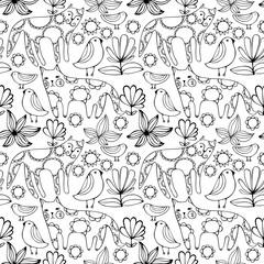 Cartoon white cats, birds and flowers. Monochrome Seamless Pattern.