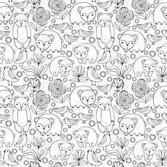 Cartoon white bears, birds and flowers. Monochrome Seamless Pattern.