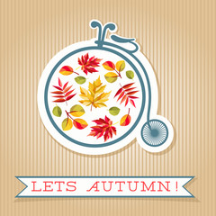 Lets Autumn card. Retro bicycle, colorful autumn leaves and banner with text.