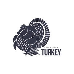 Stylized turkey silhouette graphic logo template, vector illustration on white background. Black and white decorated, sophisticated turkey for business, farm, poultry logo design
