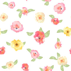 Floral seamless pattern with flowers in watercolor. Design for p