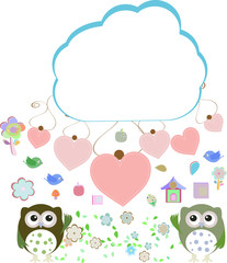 owls, birds, flowers, cloud and love heart,