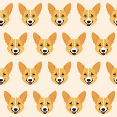 Corgi seamless pattern background. Nature, domestic animal theme