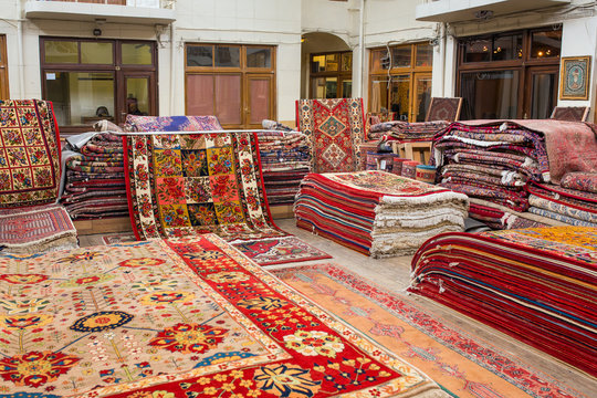 Traditional iranian carpets shop in Vakil Bazaar, Shiraz, Iran