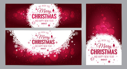Christmas And New Year cards with Typographical on shiny Xmas background. Vector Illustration. Set of Xmas card