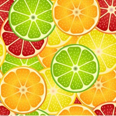 seamless pattern with different slice citruses: grapefruit, lemon, lime, orange. Vector illustration