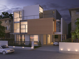 3d rendering beautiful modern design black brick house near park and nature at night