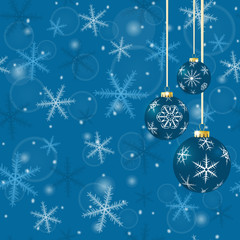 Christmas card with balls and snowflakes on blue background.