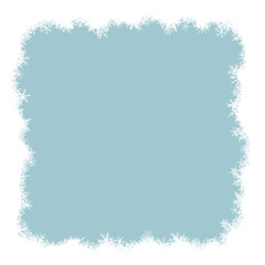 Border from various snowflakes on light blue background.