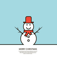 Outline happy snowman.  Minimal Christmas abstract background. Vector illustration.