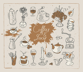 set of vector images on the theme of tea and coffee