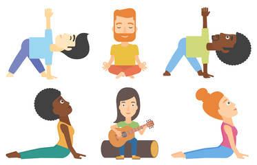 Vector set of tourists and people practicing yoga.