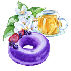 Cake frosting with a Cup of tea. Isolated on a white background. Watercolor sketch.