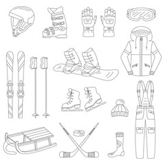 Winter sports collection, snowboard equipment, boots, board, helmet, goggles, protective clothing, ski kit, ice skates, sledge, isolated. Winter activity icons  hand drawn doodle vector illustration.