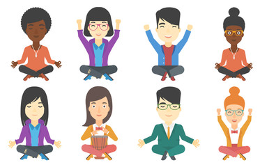 Vector set of musicians and business characters.
