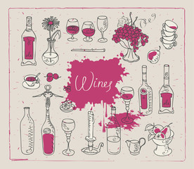 set of vector images on the theme of wine
