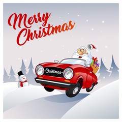 Funny Santa Claus, he is driving a red car