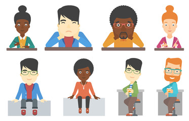 Vector set of bar customer and business characters