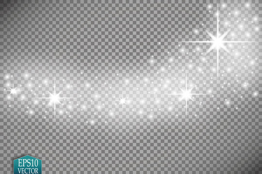 Vector white glitter wave abstract illustration. White star dust trail sparkling particles isolated on transparent background. Magic concept