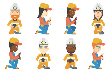 Vector set of miner and plumber characters.
